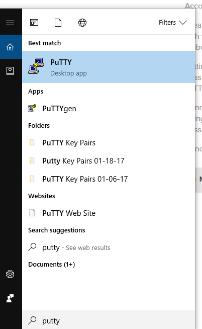 Putty in Windows Start Menu
