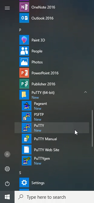 Putty in start menu