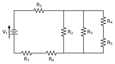 circuit diagram 7 resistors 3 loops