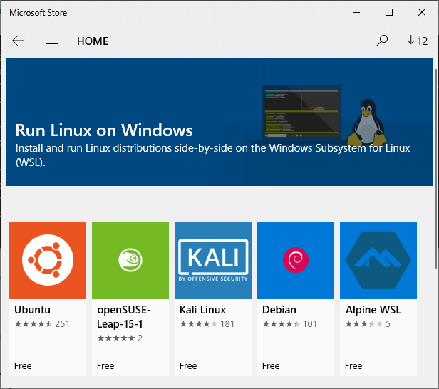 WSL in windows store